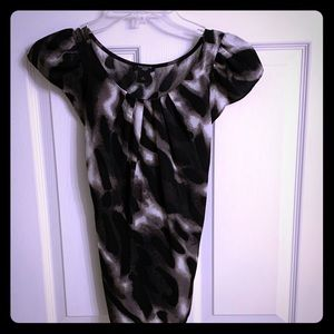 Black and Grey Print Ann Taylor Tie Blouse